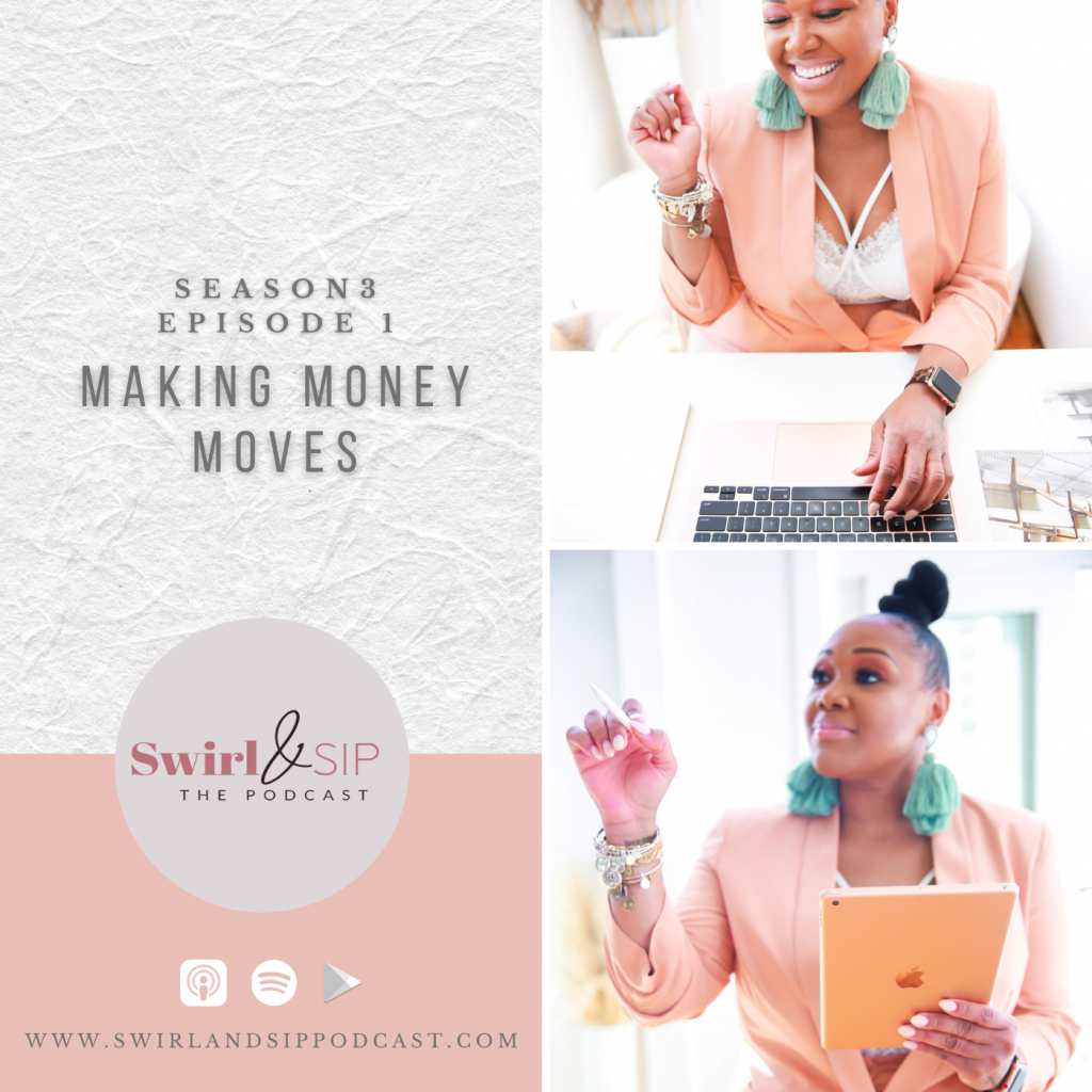 Making Money Moves Podcast Art - Swirl & Sip Season 3 Episode 1 - woman laughing typing at a laptop - woman holding IPad and pen